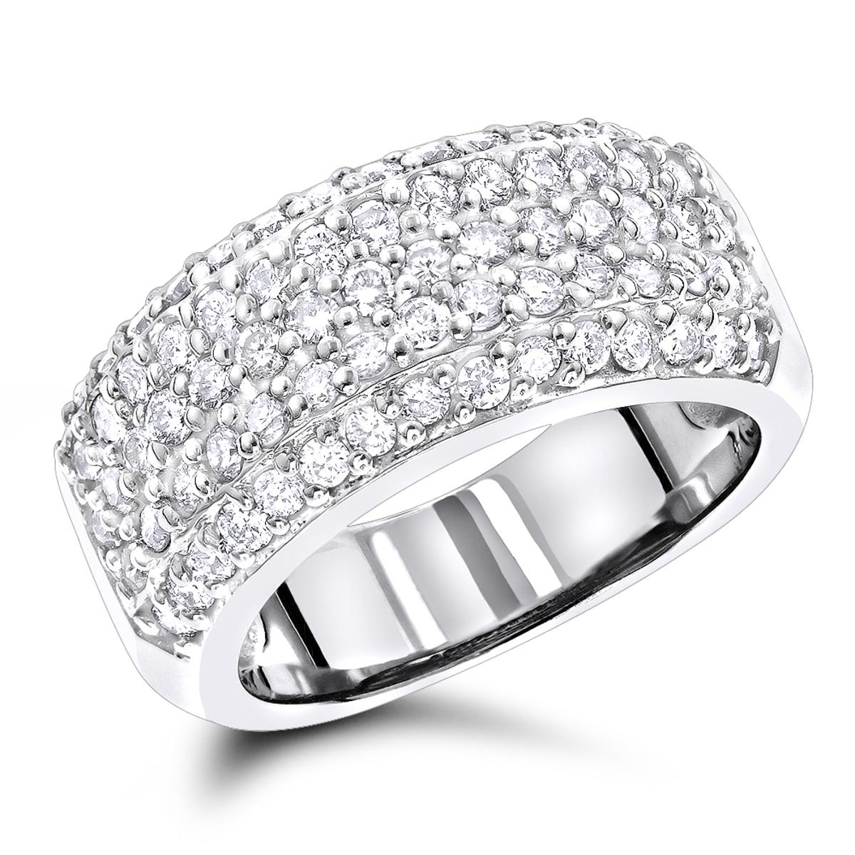 Diamond Wedding Bands 14K Pave Diamond Band 1.5ct