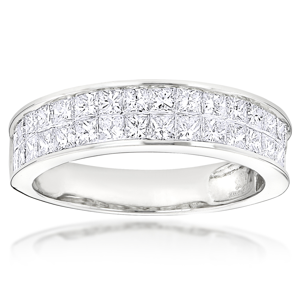 2 Carat Princess Cut Invisible Set Diamond Wedding Rings 14K Gold Band