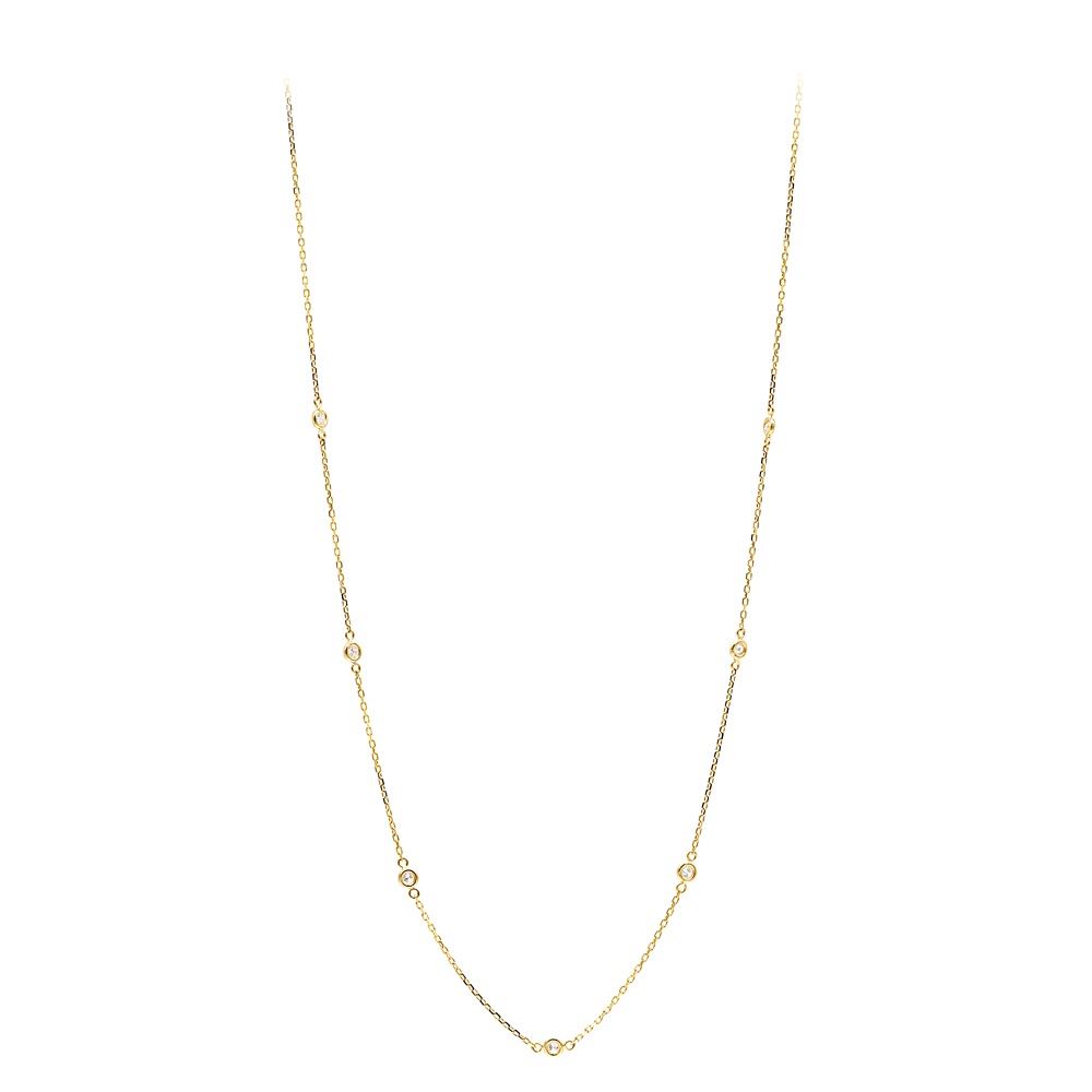 Diamonds by the Yard Ladies Necklace with Diamonds Solid 14k Gold 0.25ct