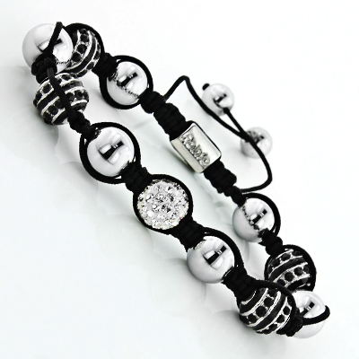 Disco Ball Jewelry: Bead Bracelet with Black and White Crystals