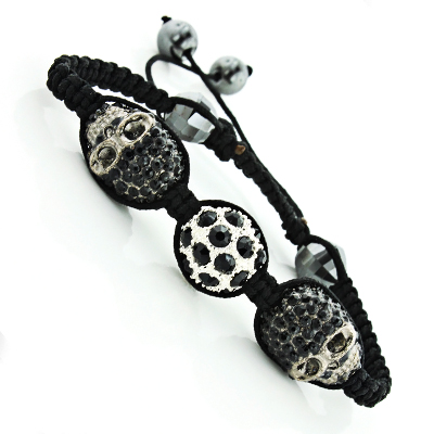 Disco Ball Jewelry: Black Skull Bracelet with Crystals