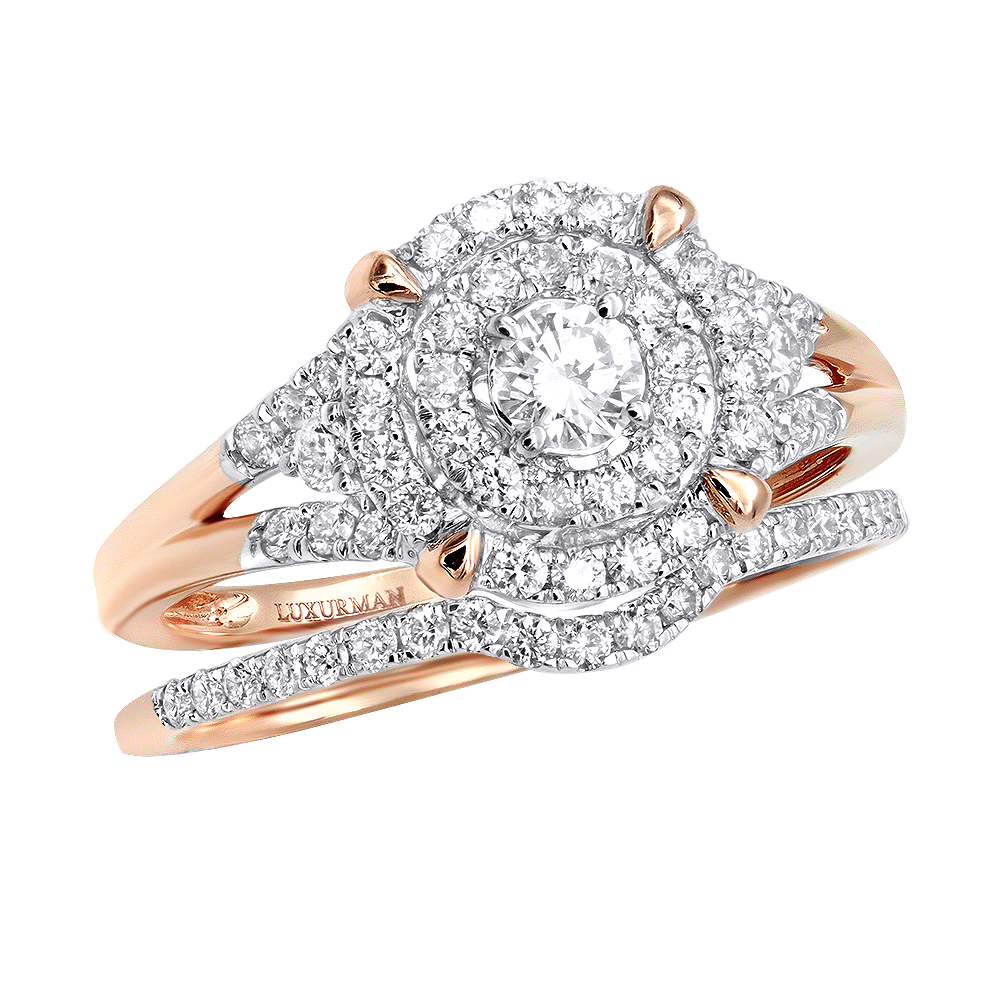 Double Halo Cheap Diamond Engagement Ring Set 0.6ct 3 Carat Look 14k Gold