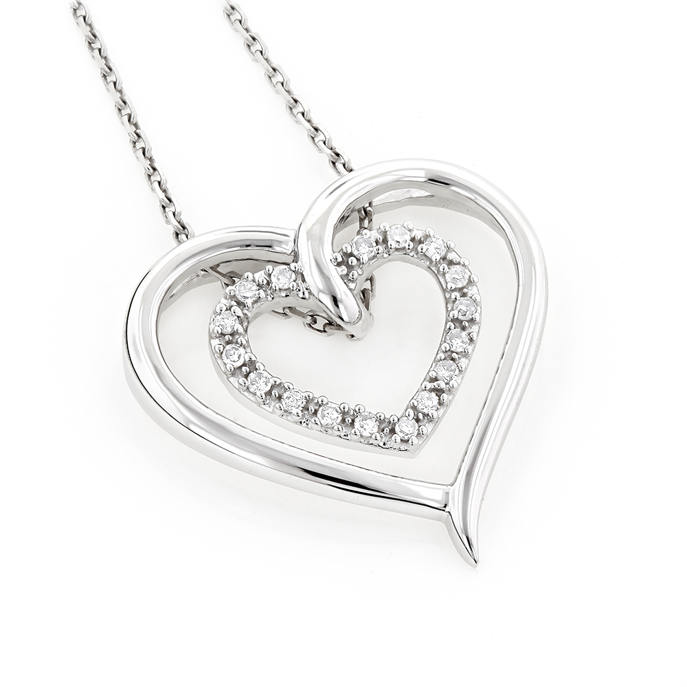 Double Heart Diamond Pendant 10K Gold 0.12ct