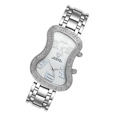 Dual Time Zone Watch Aqua Master Diamond Watch 1.5ct