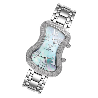 Dual Time Zone Watches Aqua Master Diamond Watch 1.5ct