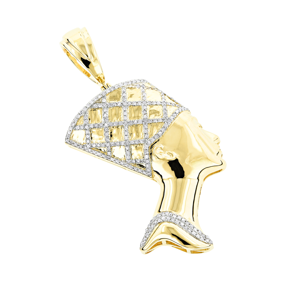 Egyptian Jewelry Solid Gold Diamond Queen Cleopatra Pendant 10K 0.5ct