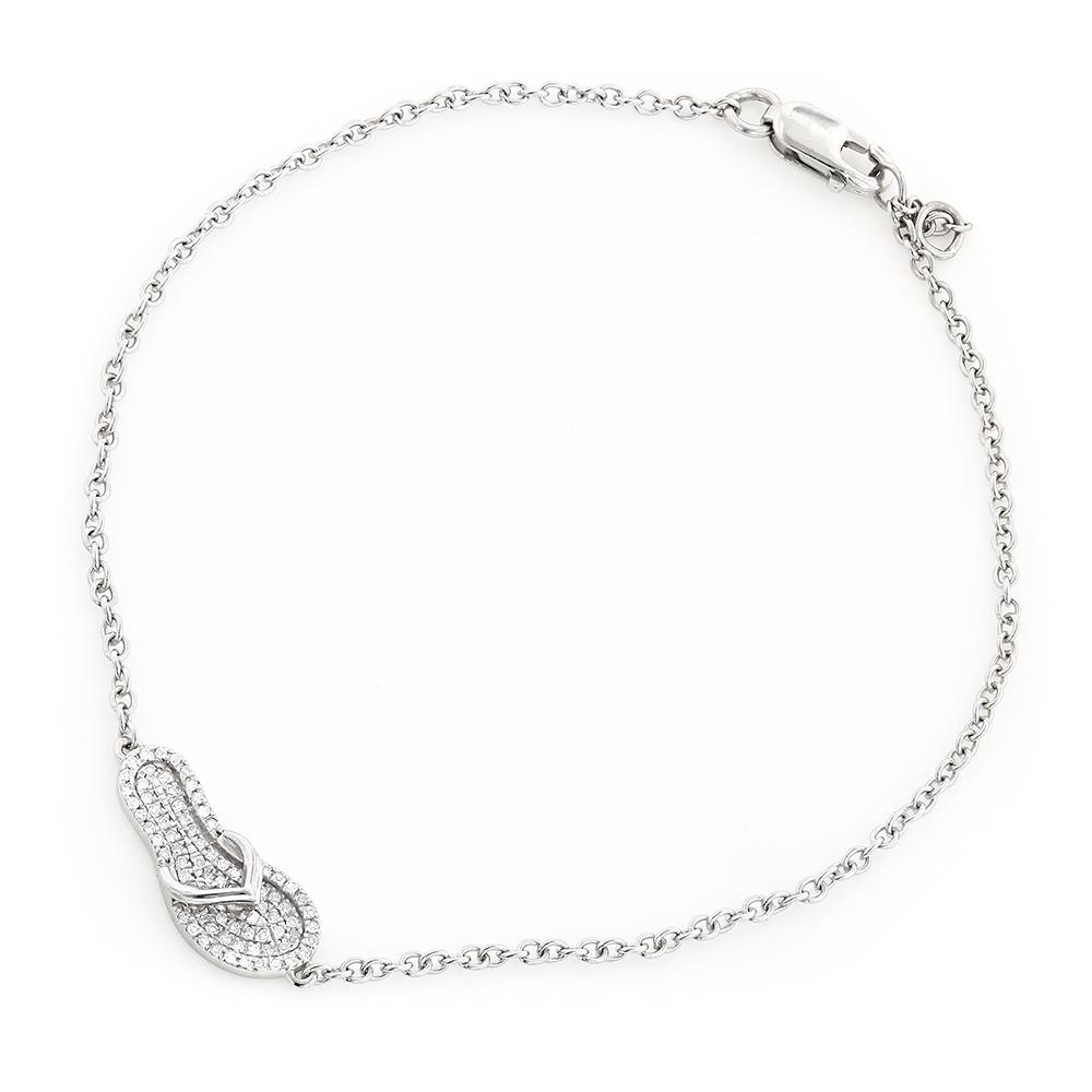 Elegant Ladies 10K Gold Diamond Flip Flop Charm Bracelet 0.15ct