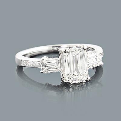 Emerald Cut Diamond Engagement Ring 2.25ct Platinum