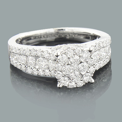 Engagement Cluster Rings: Round Diamond Ring 1.80ct 14K