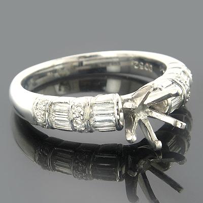 Engagement Ring Settings 18K Gold Diamond Setting .58ct