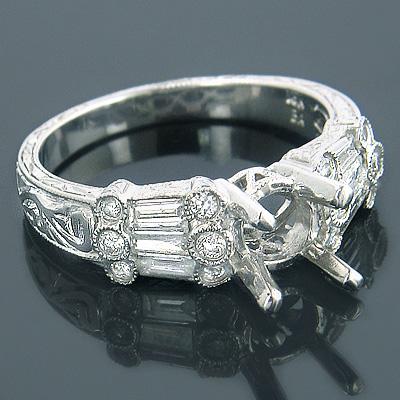 Engagement Ring Settings 18K Gold Diamond Setting .82ct