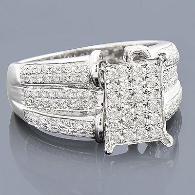 Engagement Rings: 14K Pave Diamond Ring 1.05ct