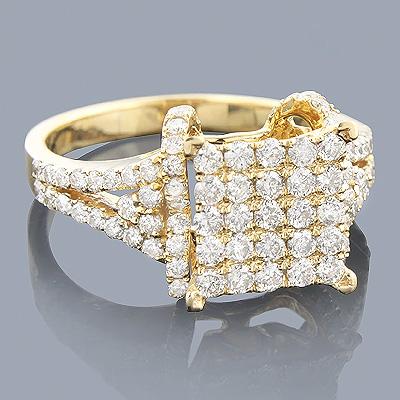 Engagement Rings: 14K Pave Diamond Ring 1.38ct