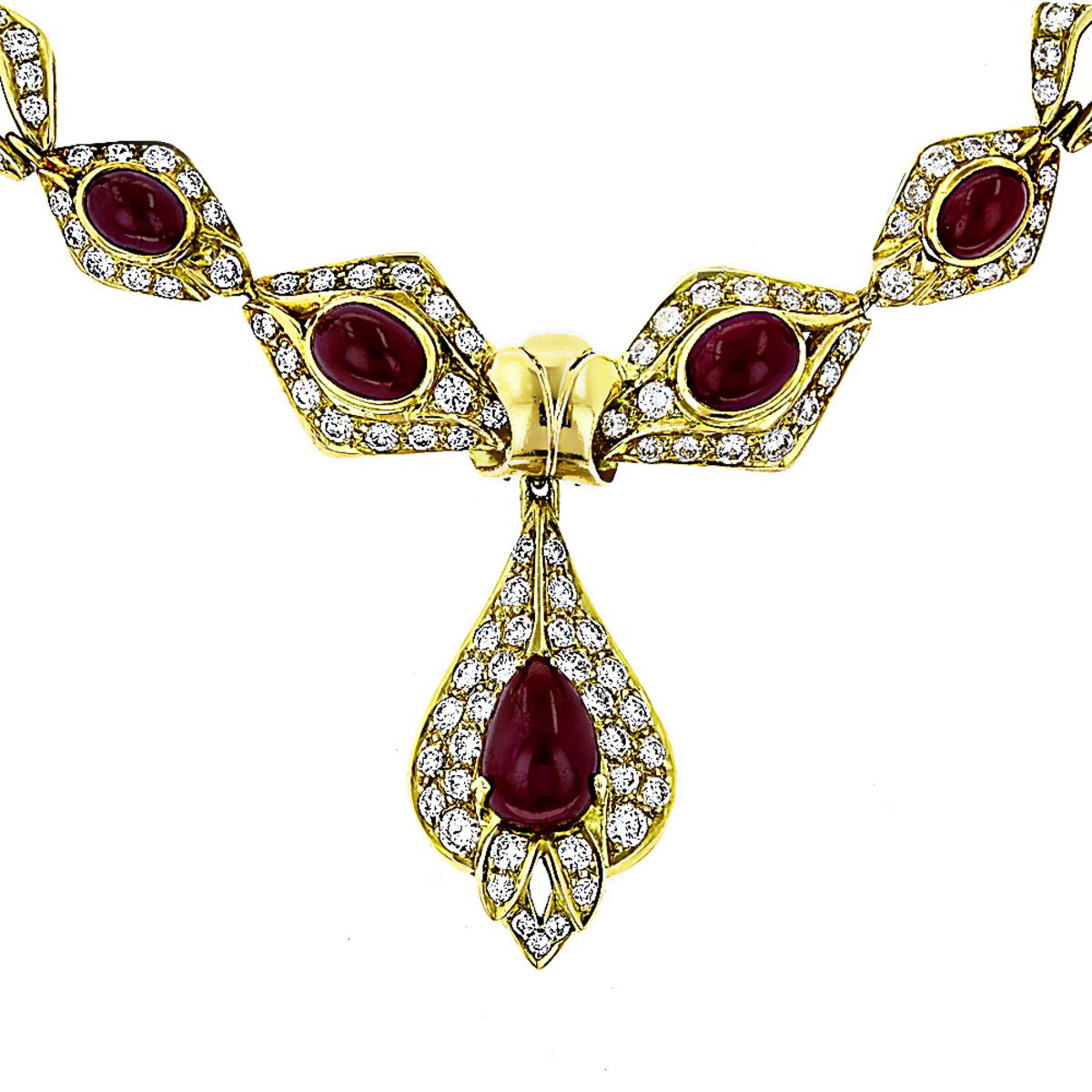 Estate Jewelry Sale 18K Yellow Gold Ladies Vintage Ruby & Diamond Necklace