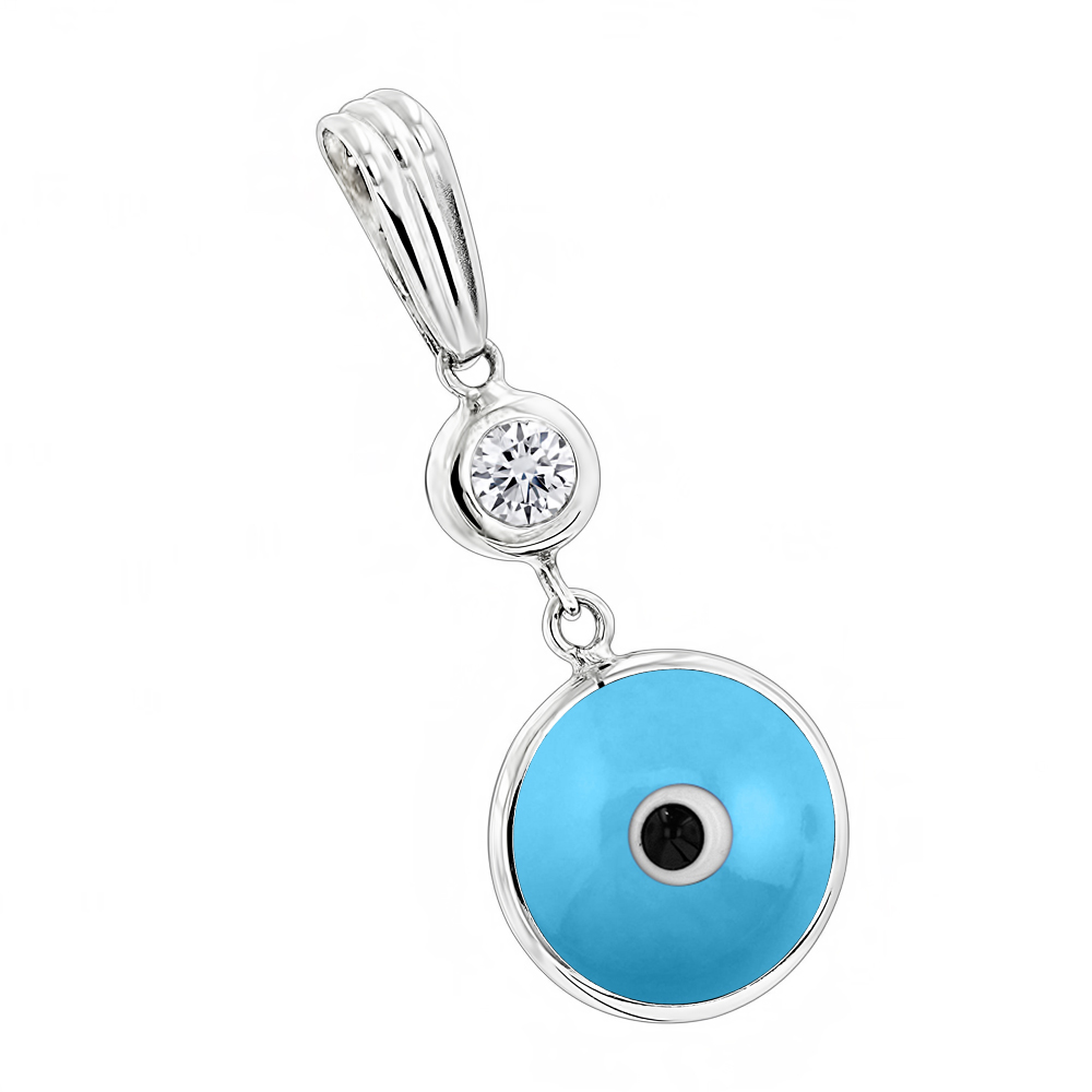 Evil eye jewelry 14k diamond evil eye pendant blue 10 mozeypictures Images