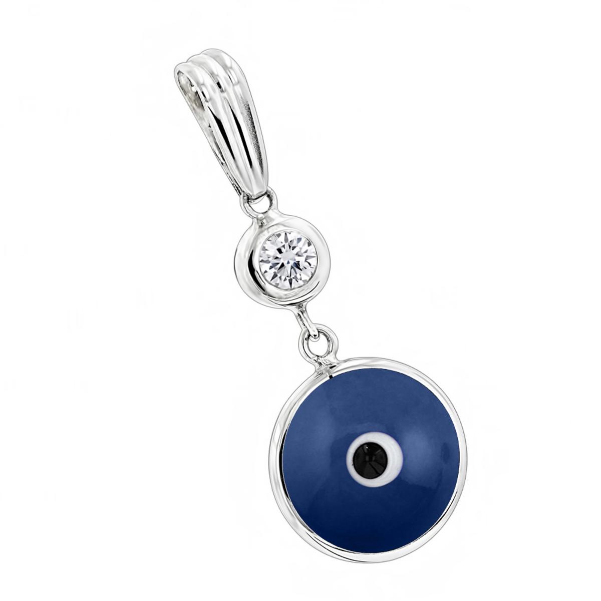 Evil Eye Jewelry 14K Diamond Evil Eye Pendant Blue .10
