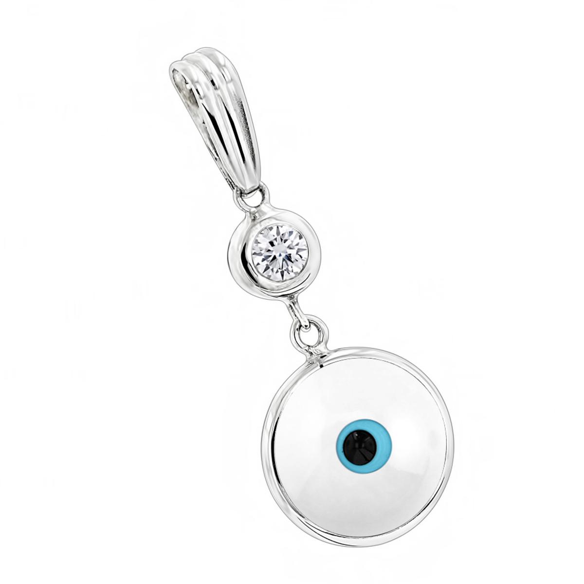 Evil Eye Jewelry 14K Diamond Evil Eye Pendant White .10