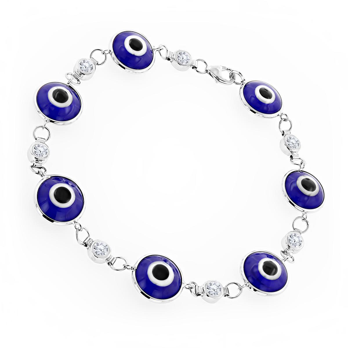 Evil Eyes 14K Gold Diamond Evil Eye Bracelet Blue .70ct