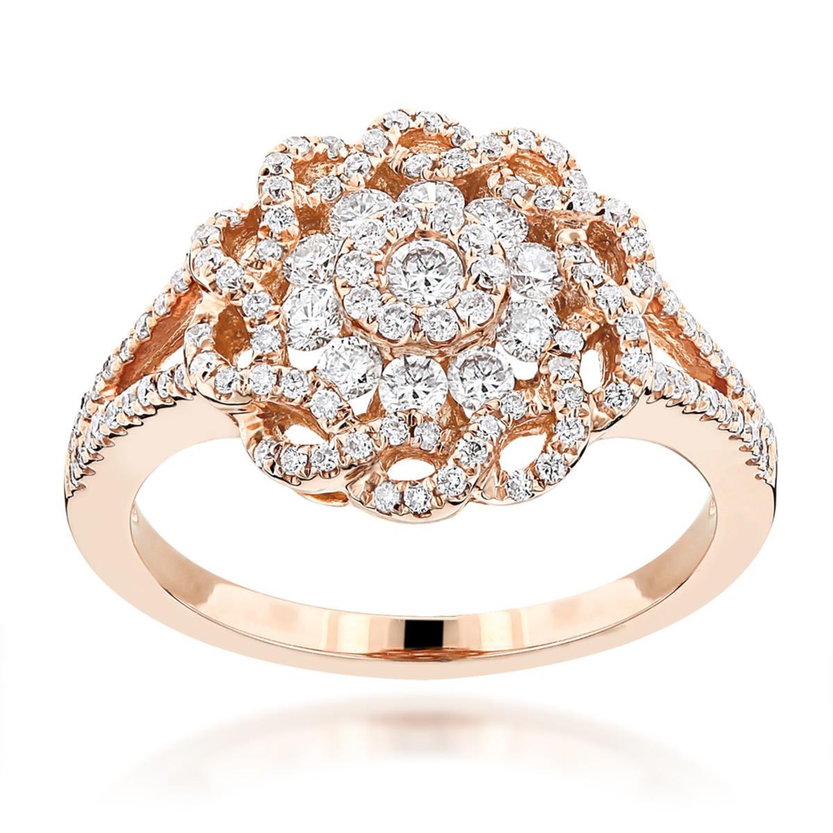 Fancy Flower Diamond  Ladies Ring 0.77ct 14K Gold