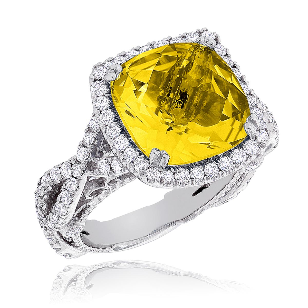 Fine Gemstone Jewelry: Citrine Diamond Cocktail Ring 11ct