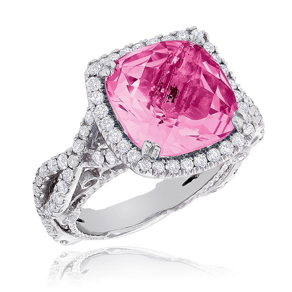 Fine Gemstone Jewelry: Pink Sapphire Diamond Cocktail Ring 11ct