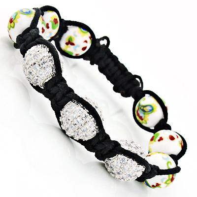 Flower Bead Crystal Disco Ball Bracelet White
