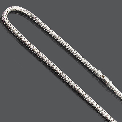 """Franco Chain Necklace 3.5mm 30"""" Mens Sterling Silver Chain"""