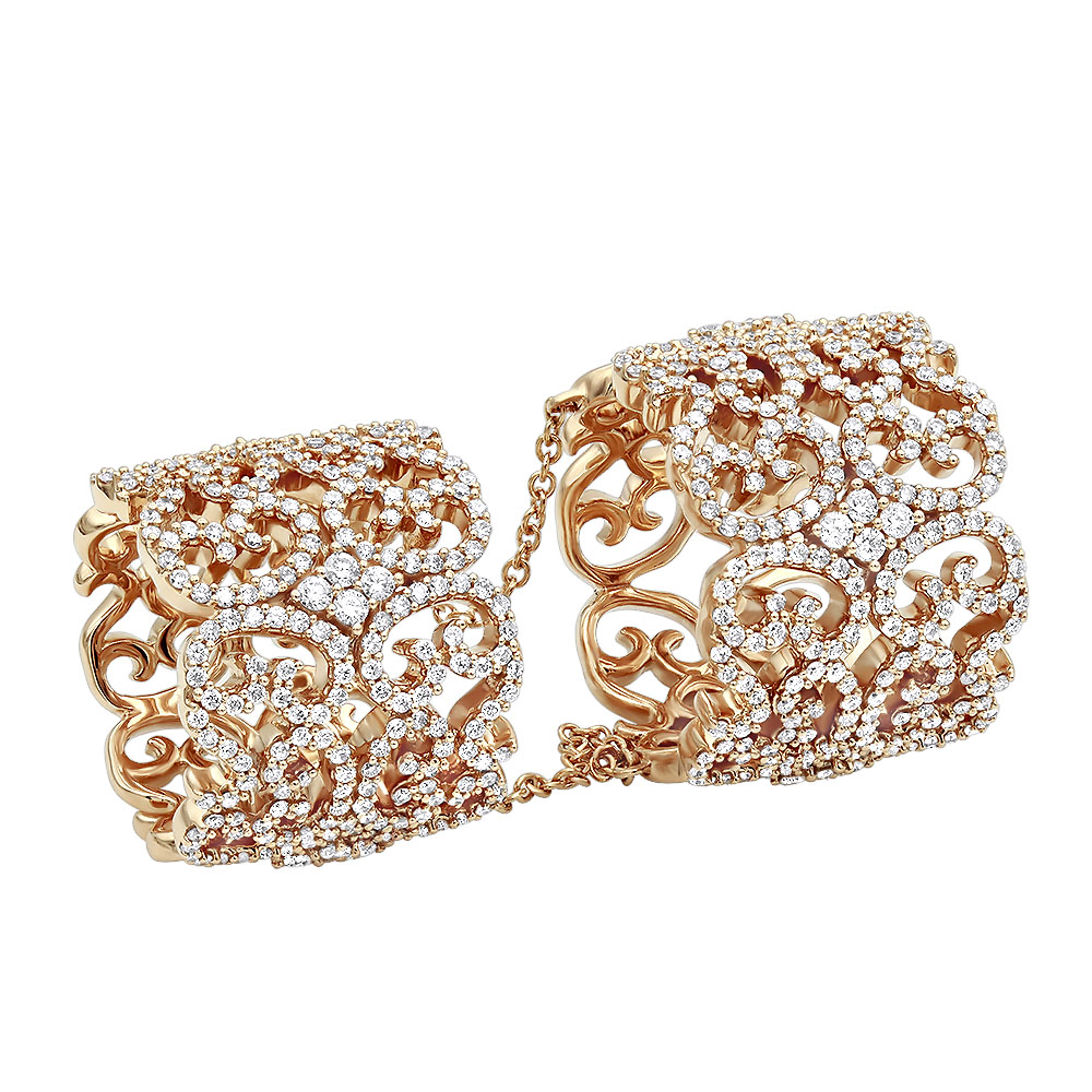Full Finger Articulated Chain Linked Diamond Double Ring for Women 14k Gold