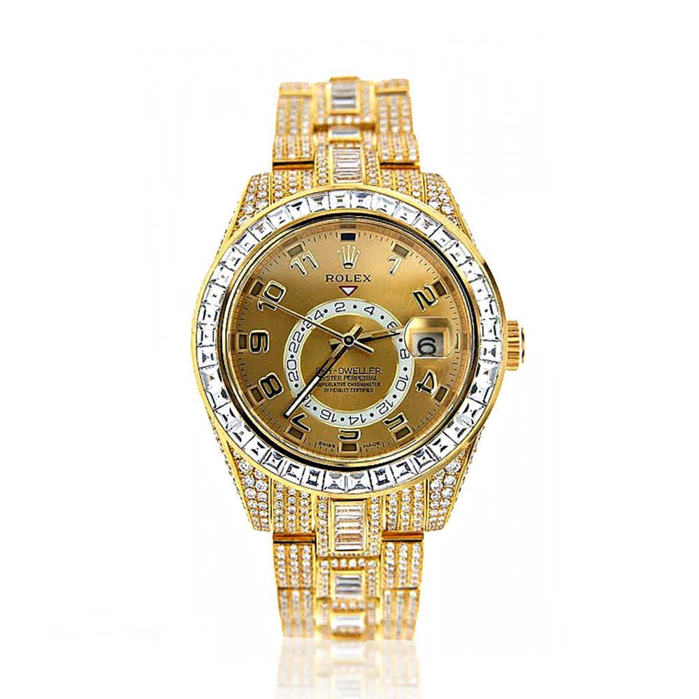 fully iced out 18k yellow gold diamond sky dweller rolex