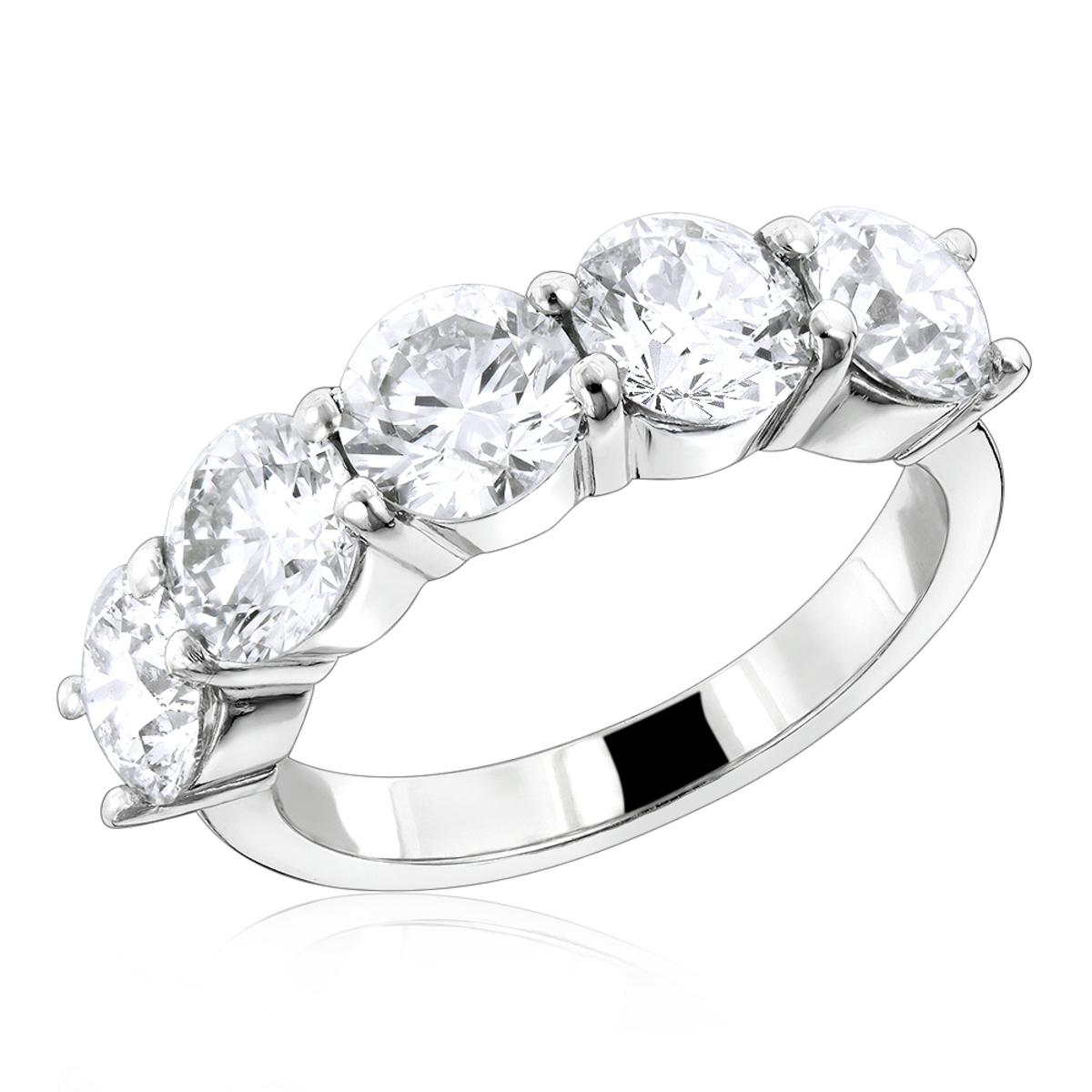 G VS Large Diamond Wedding Bands 5 Stone Anniversary Platinum Ring