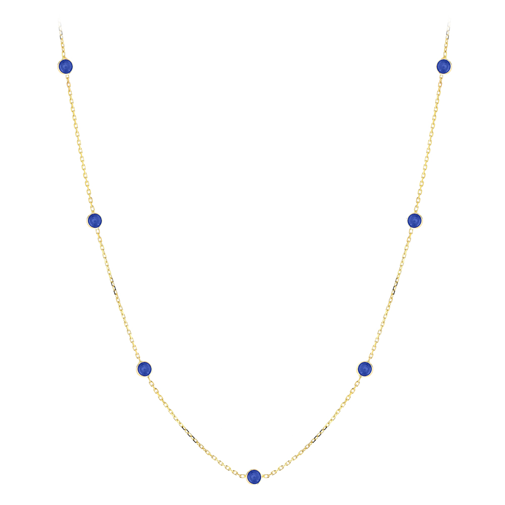 Gemstone By The Yard Necklace 14K Gold Womens Blue Sapphire Necklace 1.75ct