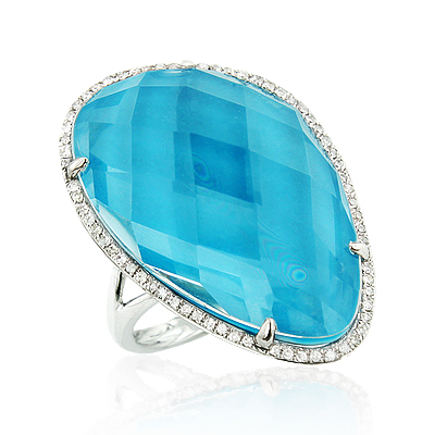 Gemstone Jewelry: 14.90 Carat Blue Topaz Diamond Ring 14K Gold
