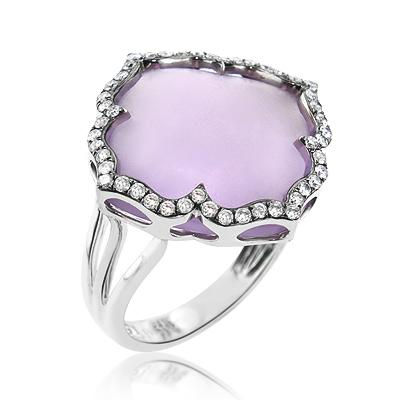 Gemstone Jewelry: Amethyst Diamond Ring 0.45ct 14K Gold