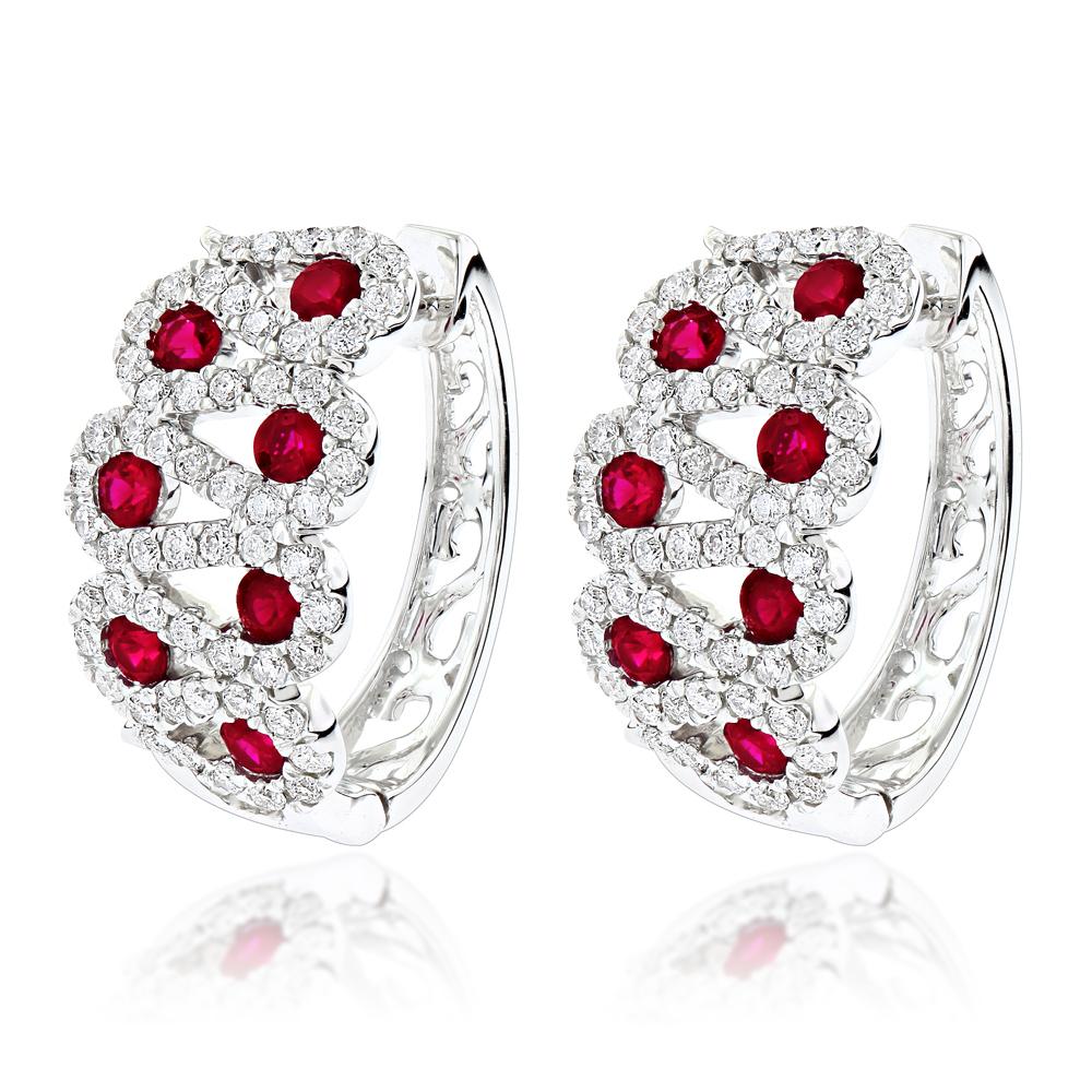Gemstone Jewelry Luxurman Unique Ladies Diamond Red Ruby Earrings 14k Gold