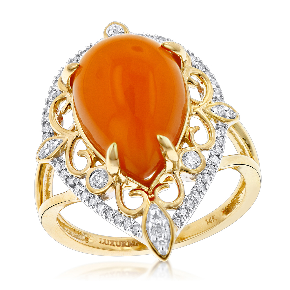 Gemstone Jewelry: Orange Aventurine Diamond Ring 5ct 14K