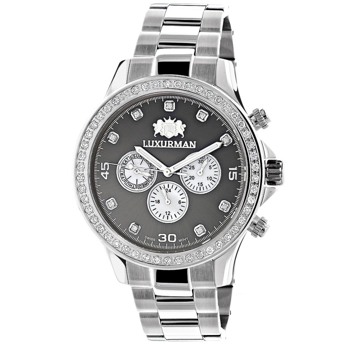 Genuine Diamond Watches For Men: 2ct Luxurman Liberty Watch Swiss Quartz