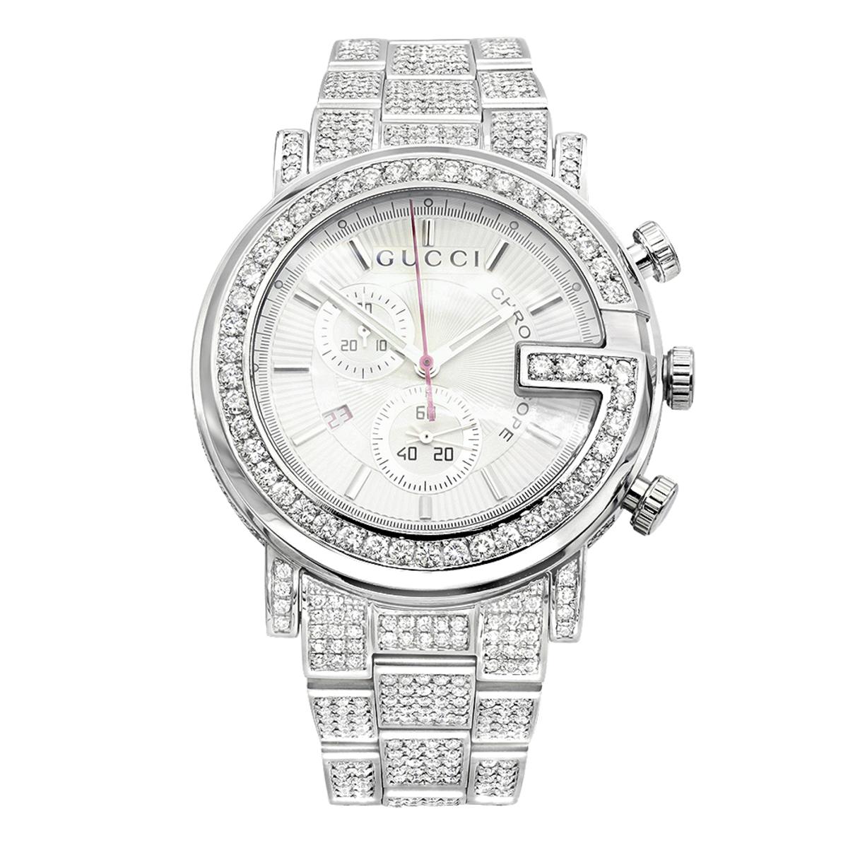 Genuine Mens Gucci Chrono Diamond Watch  12ct