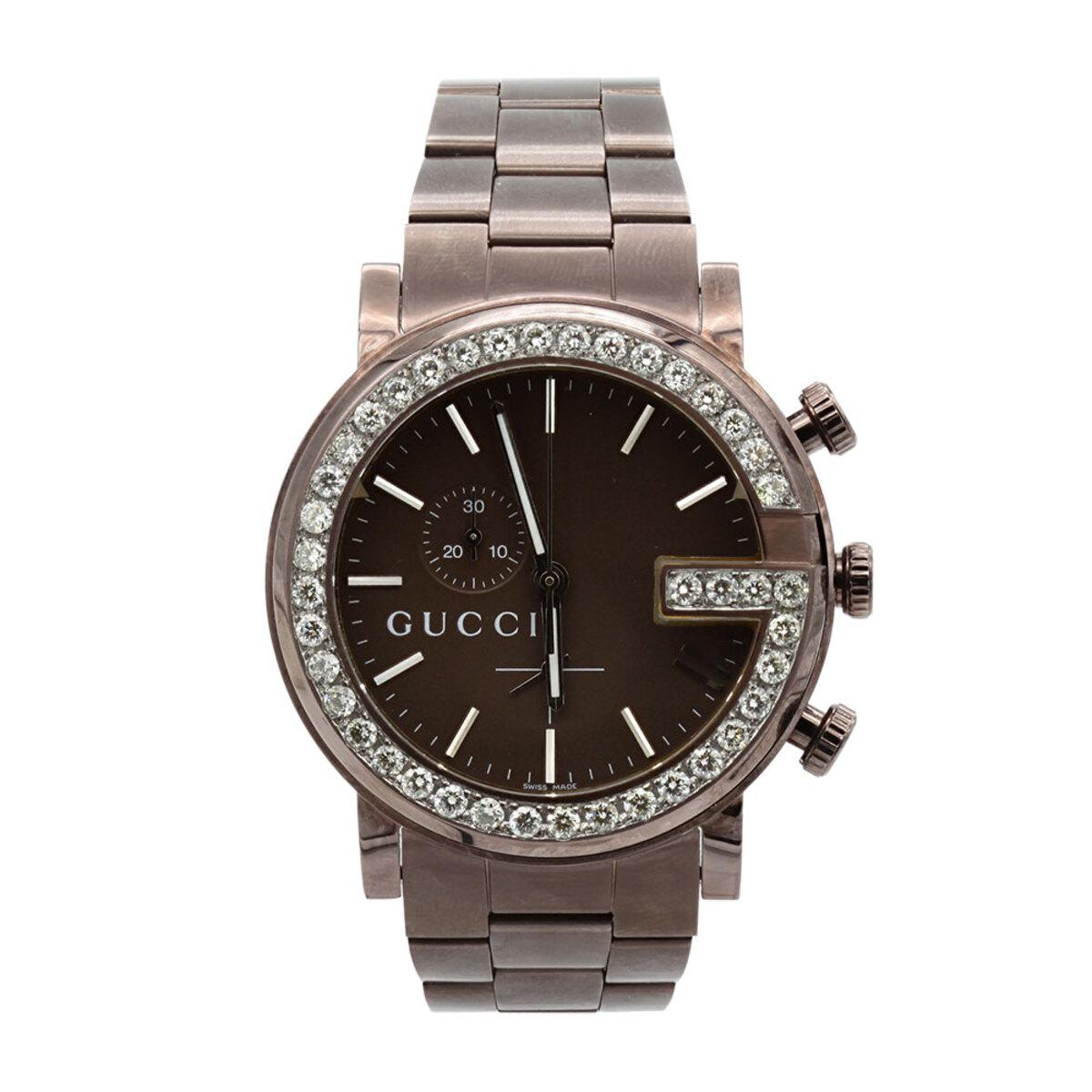 Genuine Mens Gucci Chrono Diamond Watch 2ct