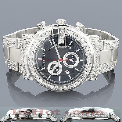 Genuine Mens Gucci Chrono Diamond Watch  8ct