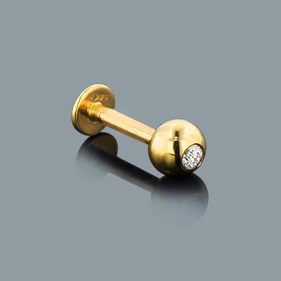 Gold Body Jewelry: 14K Diamond Ball Labret Stud .08ct