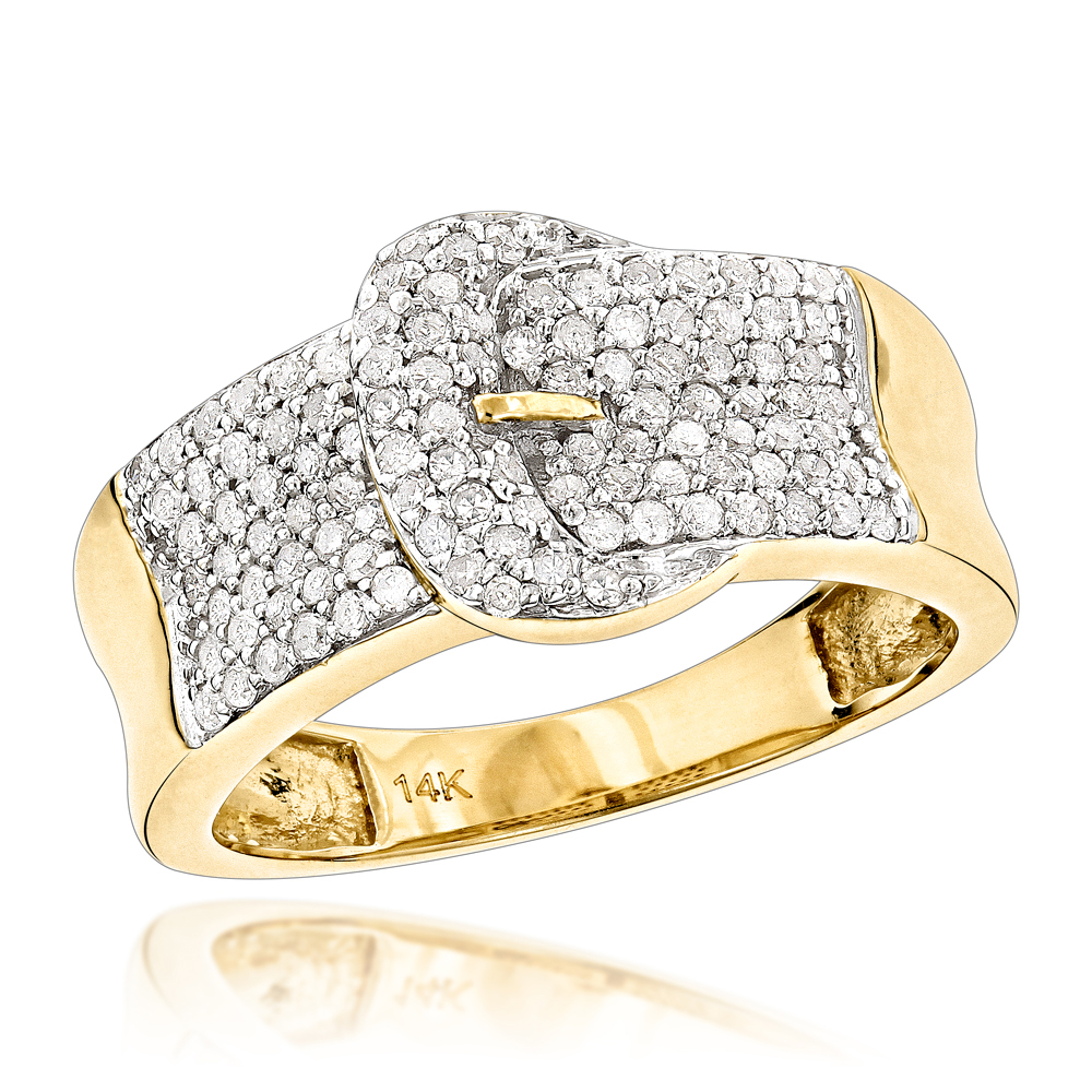 Gold Buckle Ring with Diamonds 14K 0.8ct Womens Jewelry