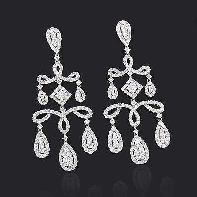Gold Chandelier Earrings with Dazzling Diamonds 6.92ct 18K