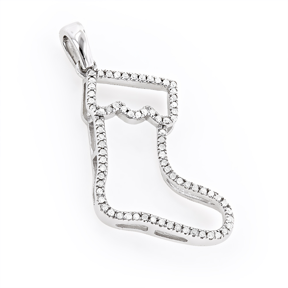 Gold Diamond Christmas Stocking Pendant 0.15ct 10K Charm