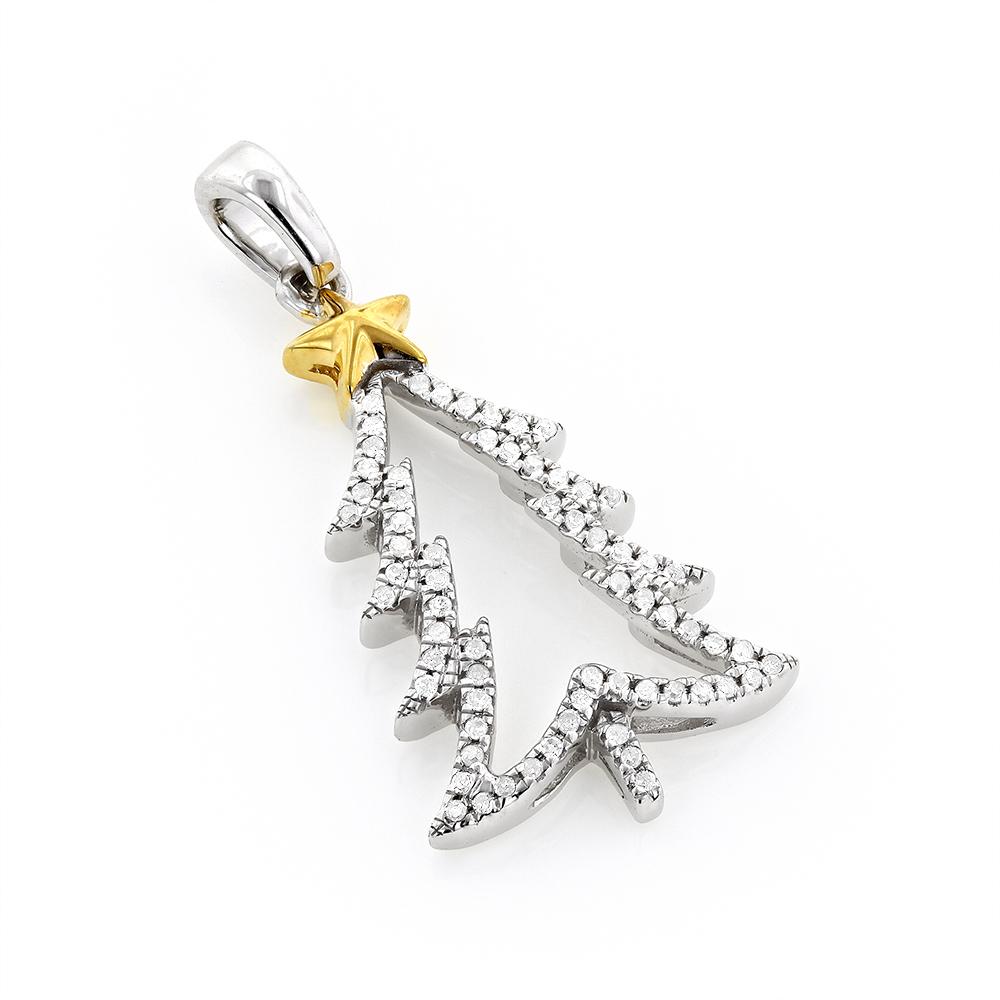 Gold Diamond Christmas Tree Charm Pendant 0.14ct 10K
