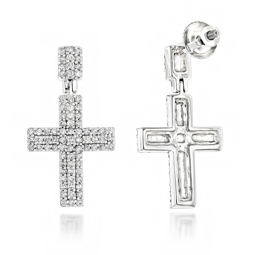 Gold Diamond Cross Earrings 0.5 ct 14K Gold