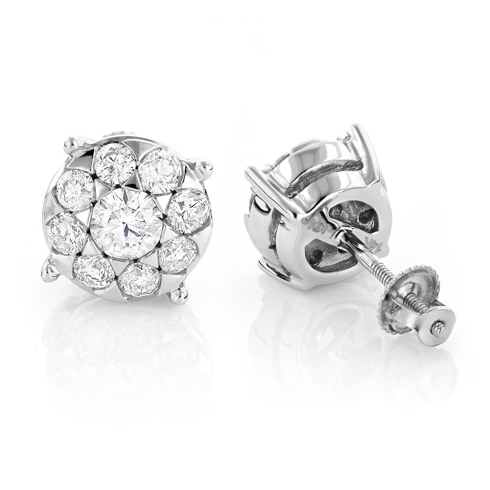 Gold Diamond Earrings 1 ct 14K Cluster Studs