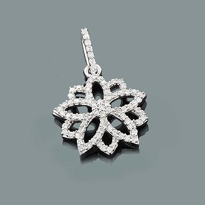 Gold Diamond Flower Pendant 0.34ct 14K Gold