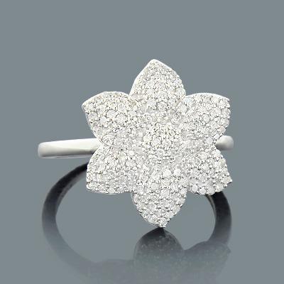 Gold Diamond Flower Ring 0.44ct 14K