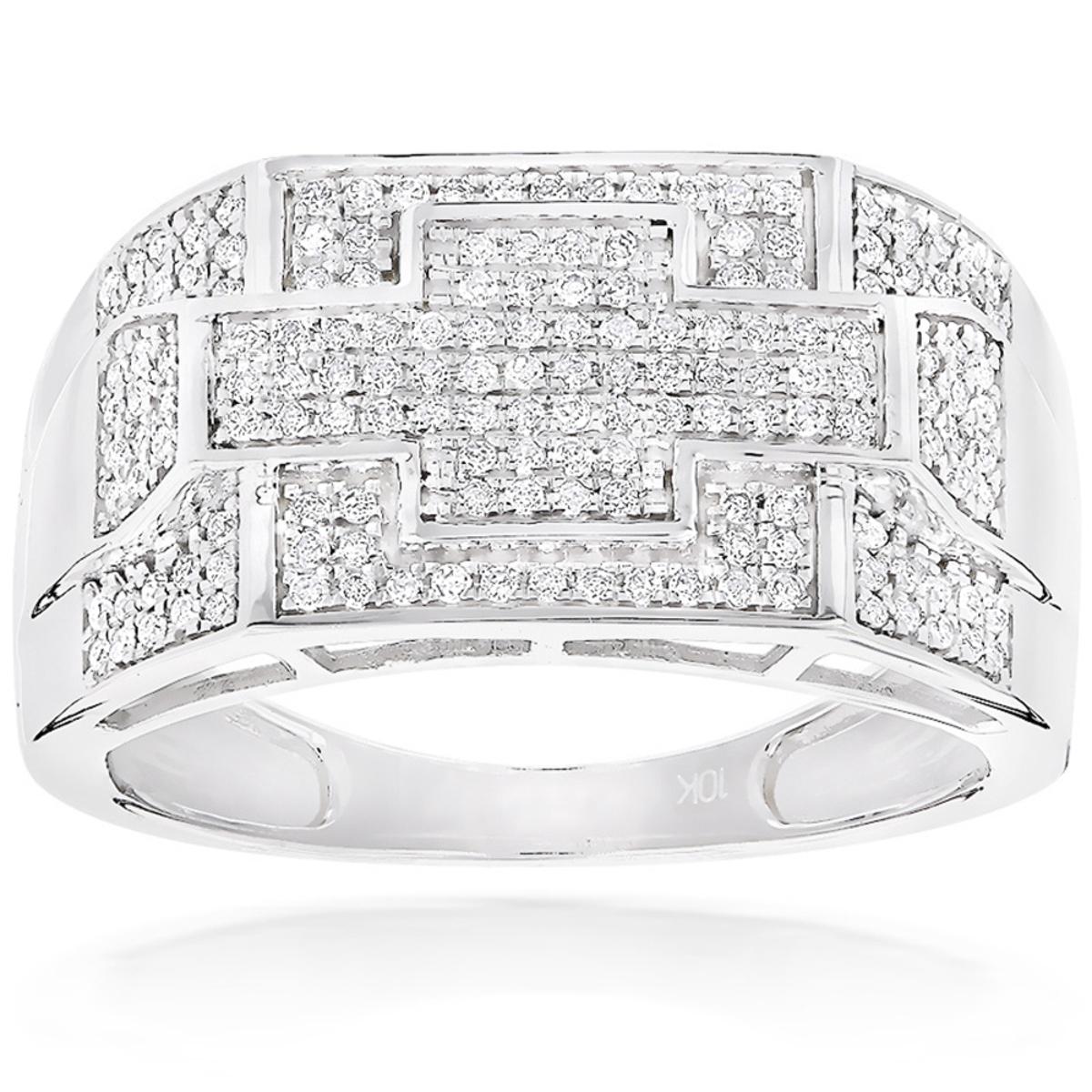 Gold Diamond Mens Ring 0.5ct 10K Pinky Ring