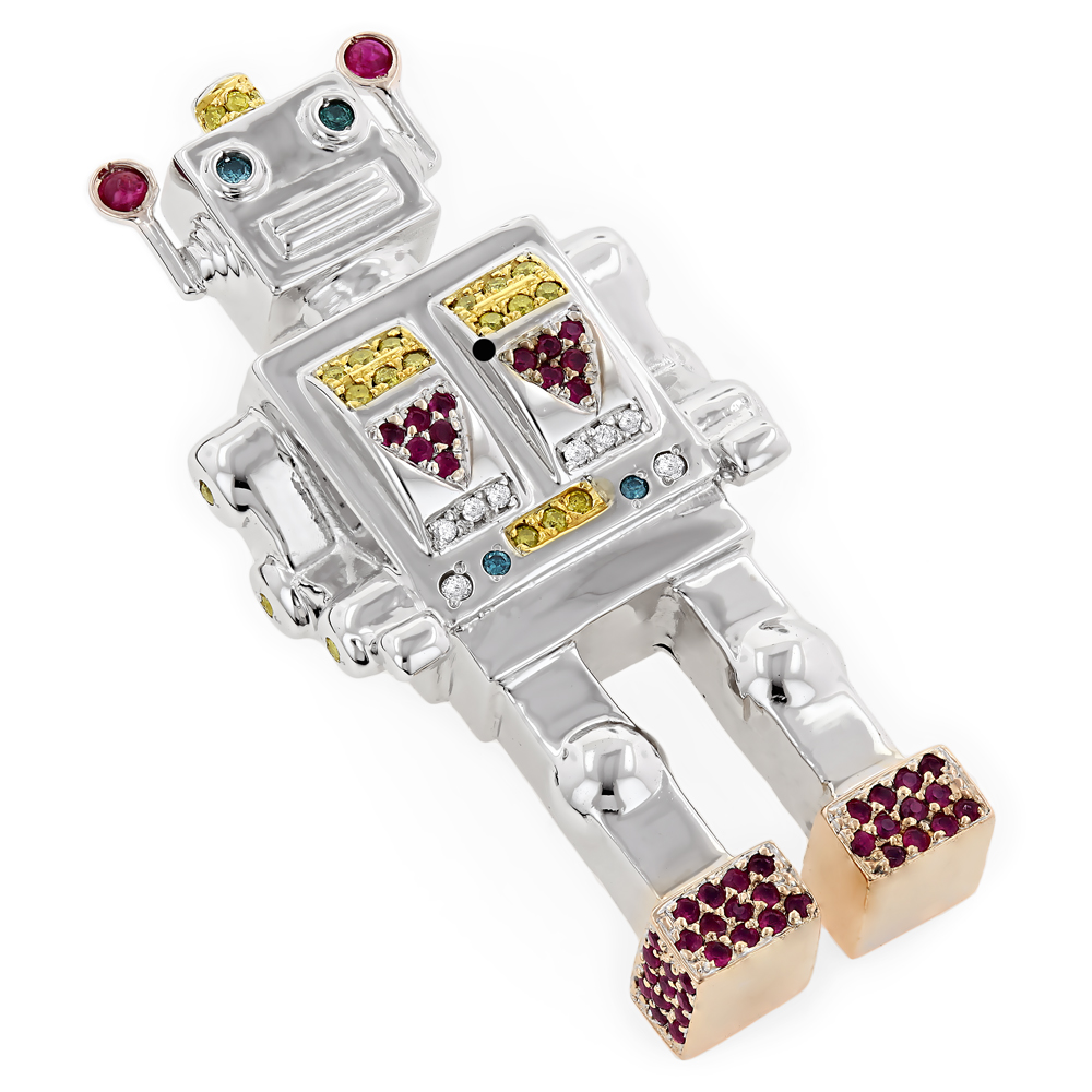 Gold Diamond Robot Pendant 14K Custom Made Jewelry